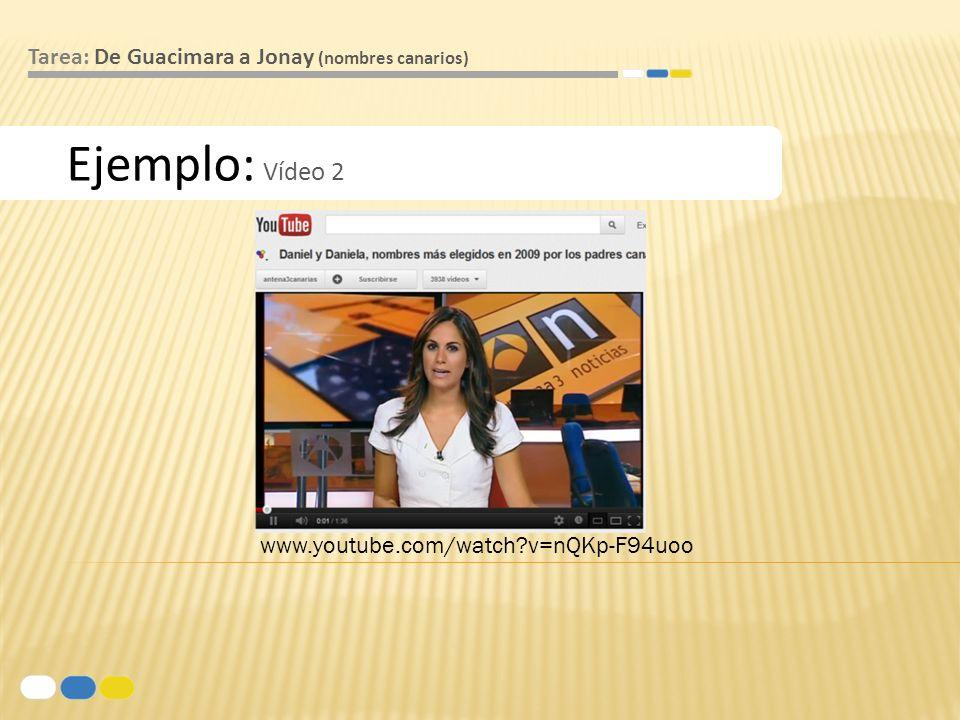 Ejemplo: Vídeo 2 Tarea: De Guacimara a Jonay (nombres canarios) www.youtube.com/watch?v=nQKp-F94uoo