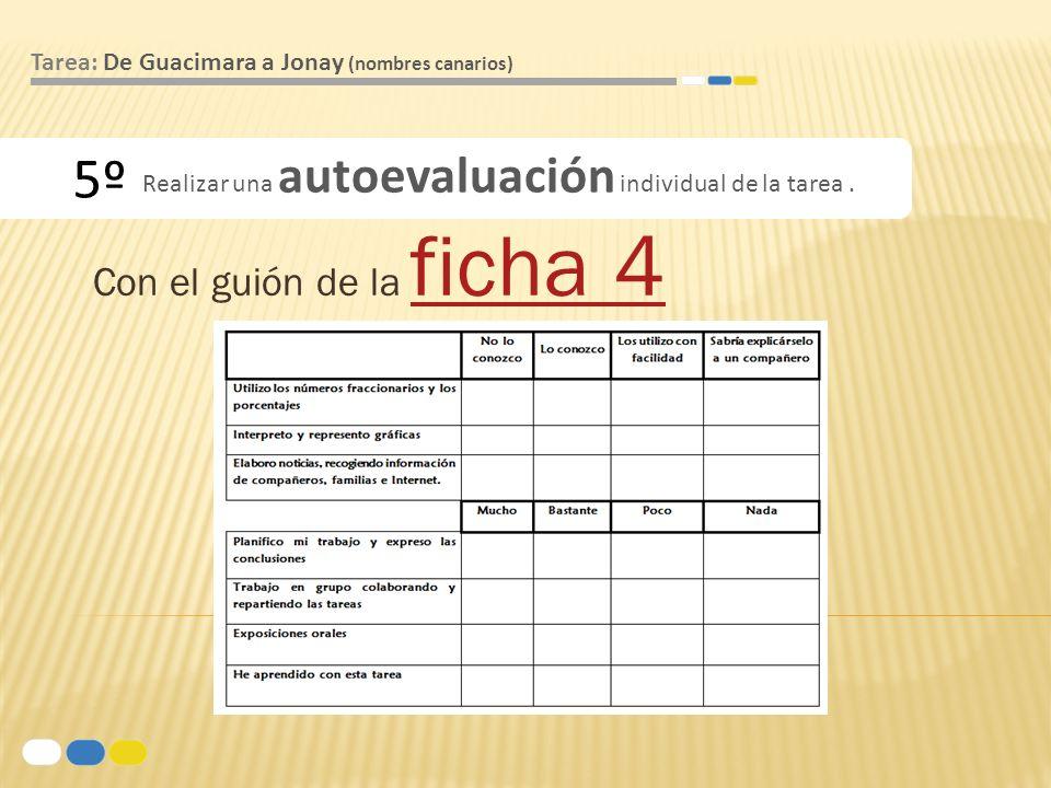 Con el guión de la ficha 4 ficha 4 5º Tarea: De Guacimara a Jonay (nombres canarios) Realizar una autoevaluación individual de la tarea.