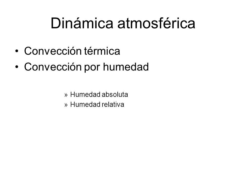 Dinámica atmosférica Convección térmica Convección por humedad »Humedad absoluta »Humedad relativa