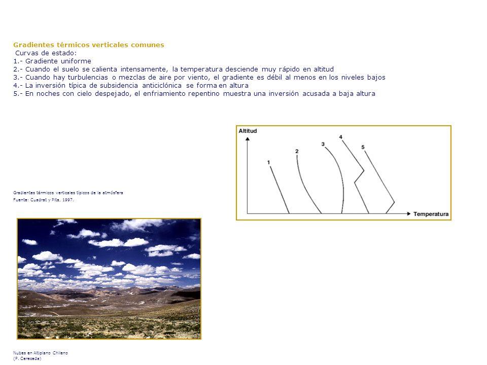 Gradientes térmicos verticales comunes Curvas de estado: 1.- Gradiente uniforme 2.- Cuando el suelo se calienta intensamente, la temperatura desciende