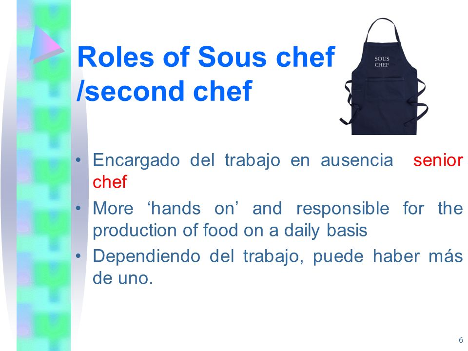 Roles of Sous chef /second chef Encargado del trabajo en ausencia senior chef More hands on and responsible for the production of food on a daily basi