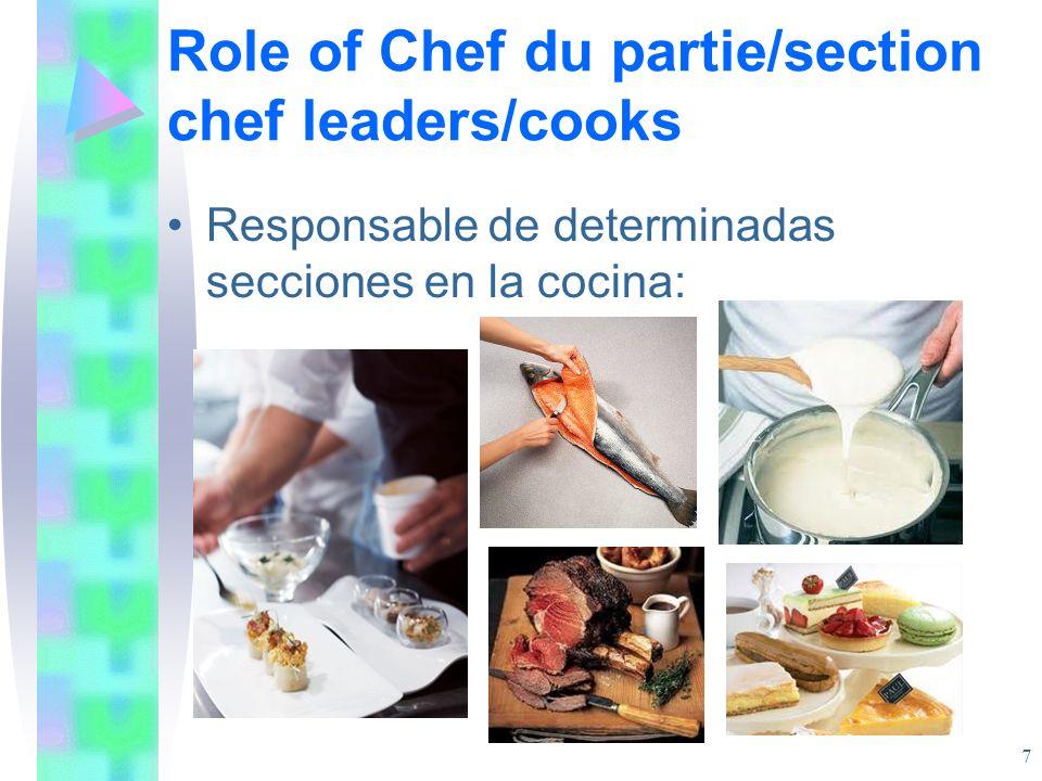 Chef du partie - sections Estas secciones incluyen: Chef saucier/rôtisseur (sauce and roasts and entrées) Chef du garde-manger (larder section) Poissonnier (fish section) Chef etremettier (vegetable section) Chef pâtissier (pastry section) Chef tournant (relief chef) 8