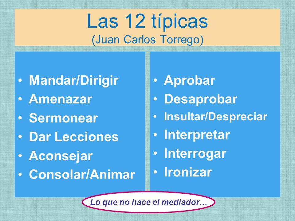 Las 12 típicas (Juan Carlos Torrego) Mandar/Dirigir Amenazar Sermonear Dar Lecciones Aconsejar Consolar/Animar Aprobar Desaprobar Insultar/Despreciar
