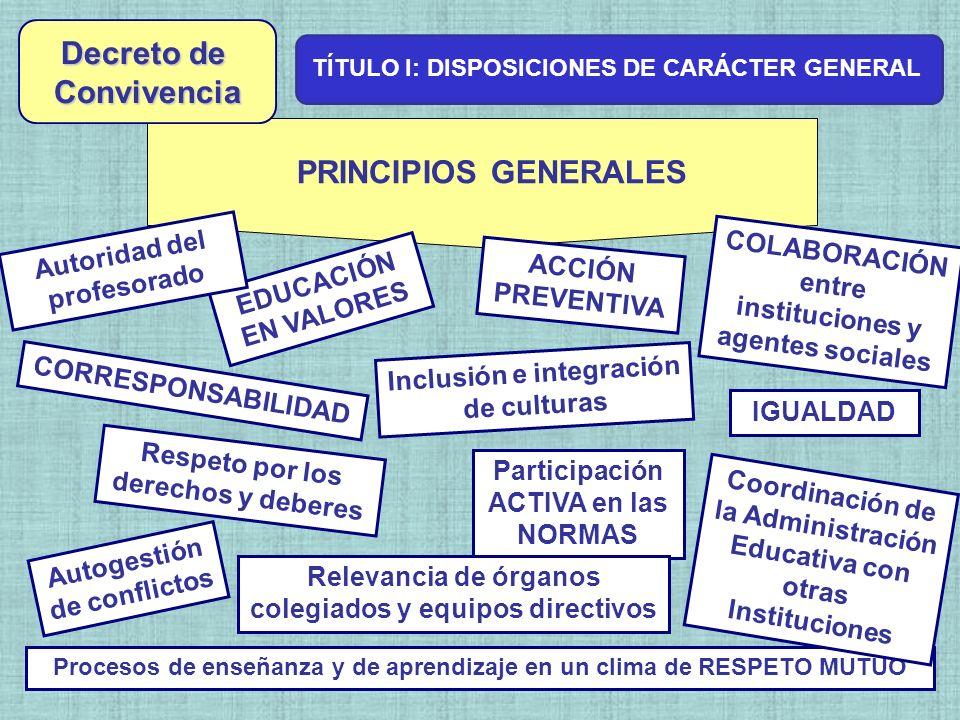 Decreto de PRINCIPIOS GENERALES EDUCACIÓN EN VALORES Respeto por los derechos y deberes IGUALDAD Procesos de enseñanza y de aprendizaje en un clima de