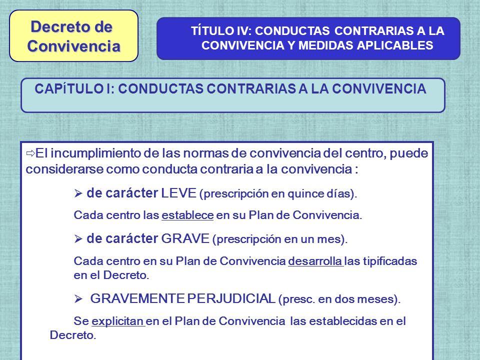 CAP Í TULO I: CONDUCTAS CONTRARIAS A LA CONVIVENCIA TÍTULO IV: CONDUCTAS CONTRARIAS A LA CONVIVENCIA Y MEDIDAS APLICABLES El incumplimiento de las nor
