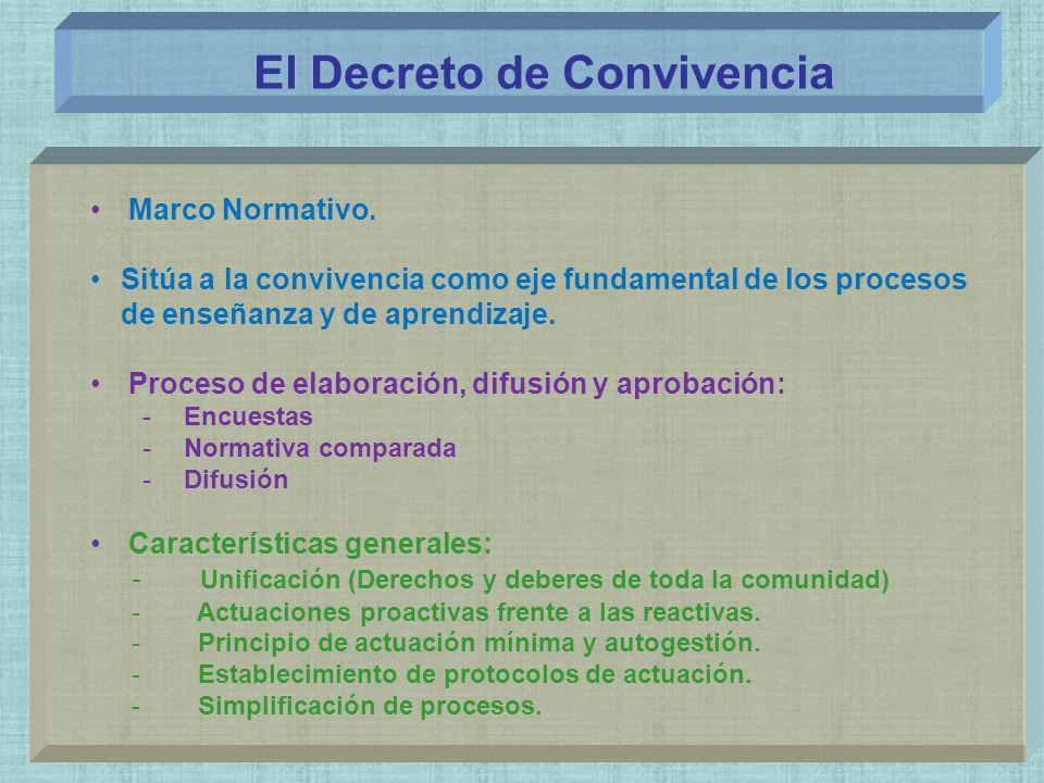 El Decreto de Convivencia Marco Normativo. Sitúa a la convivencia como eje fundamental de los procesos de enseñanza y de aprendizaje. Proceso de elabo