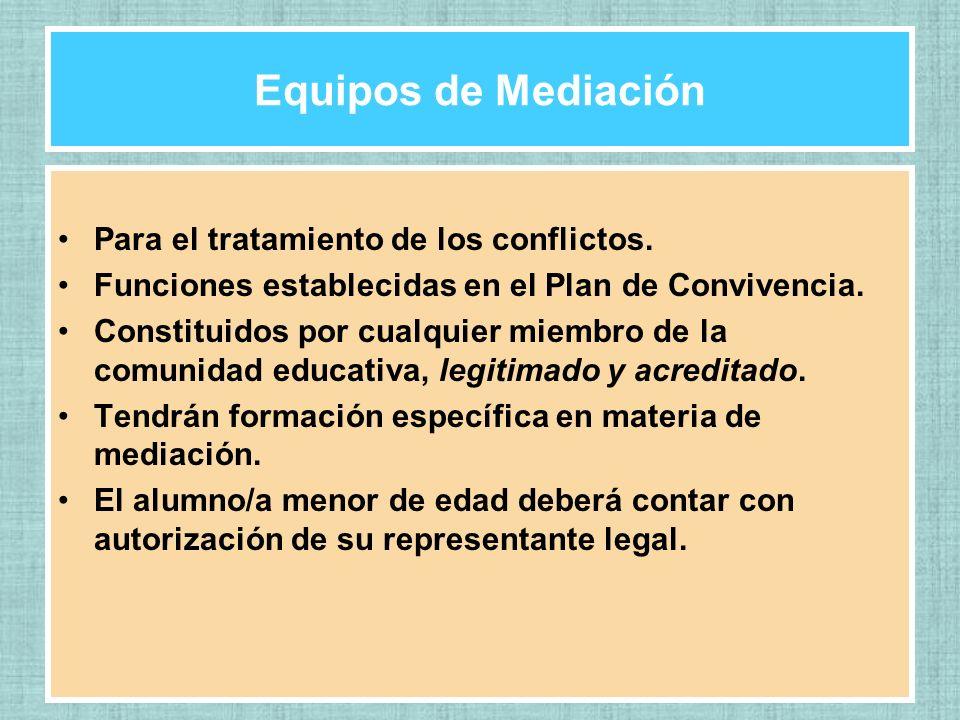 Equipos de Mediación Para el tratamiento de los conflictos. Funciones establecidas en el Plan de Convivencia. Constituidos por cualquier miembro de la