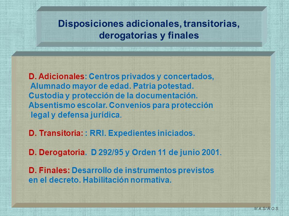Disposiciones adicionales, transitorias, derogatorias y finales D. Adicionales: Centros privados y concertados, Alumnado mayor de edad. Patria potesta