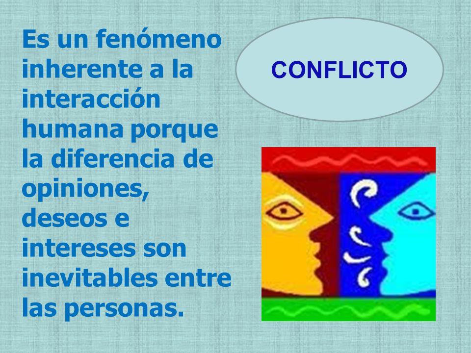 Es un fenómeno inherente a la interacción humana porque la diferencia de opiniones, deseos e intereses son inevitables entre las personas. CONFLICTO