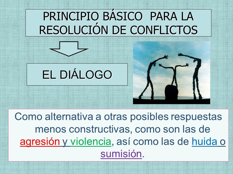 EL DIÁLOGO PRINCIPIO BÁSICO PARA LA RESOLUCIÓN DE CONFLICTOS Como alternativa a otras posibles respuestas menos constructivas, como son las de agresió