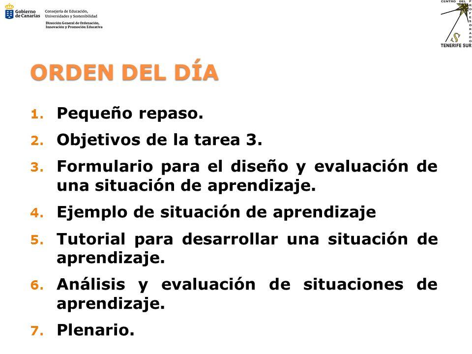 ORDEN DEL DÍA 1. Pequeño repaso. 2. Objetivos de la tarea 3. 3. Formulario para el diseño y evaluación de una situación de aprendizaje. 4. Ejemplo de