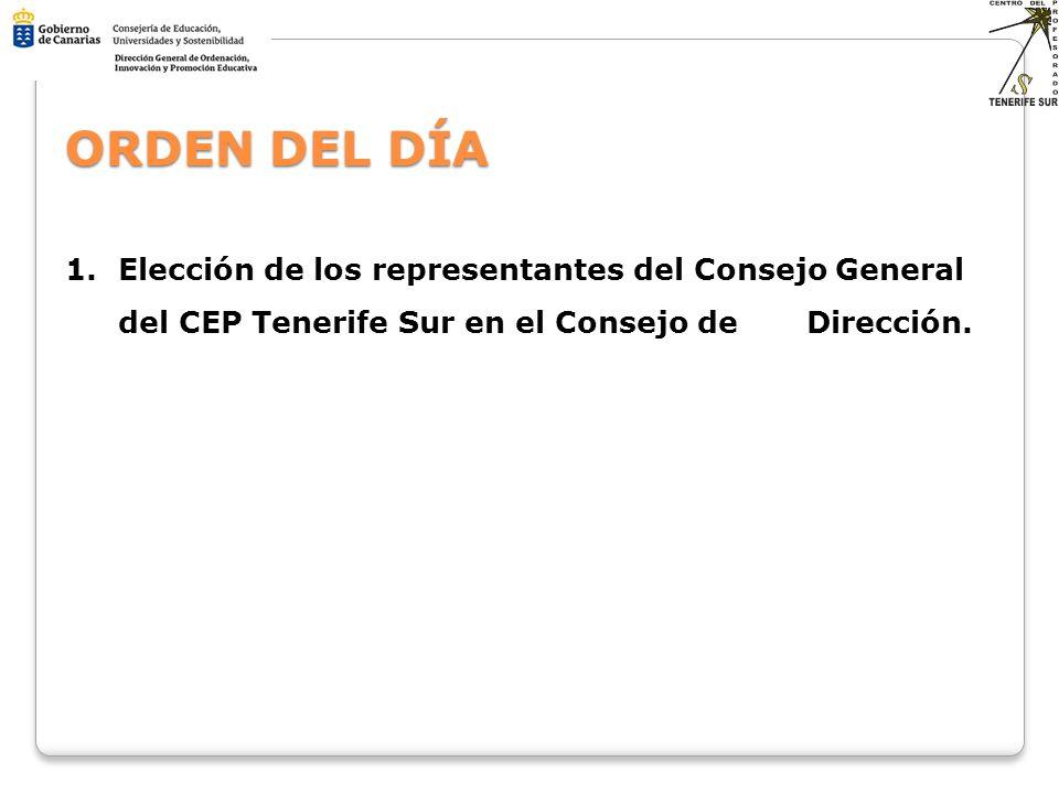 1.Elección de los representantes del Consejo General del CEP Tenerife Sur en el Consejo de Dirección. ORDEN DEL DÍA