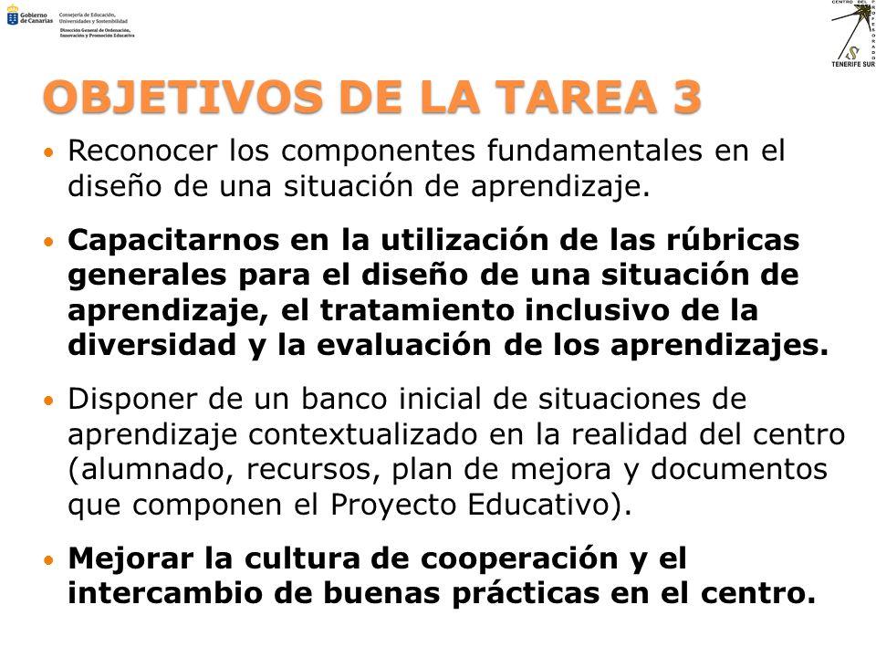 OBJETIVOS DE LA TAREA 3 Reconocer los componentes fundamentales en el diseño de una situación de aprendizaje. Capacitarnos en la utilización de las rú