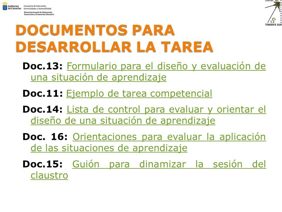 DOCUMENTOS PARA DESARROLLAR LA TAREA Doc.13: Formulario para el diseño y evaluación de una situación de aprendizajeFormulario para el diseño y evaluac