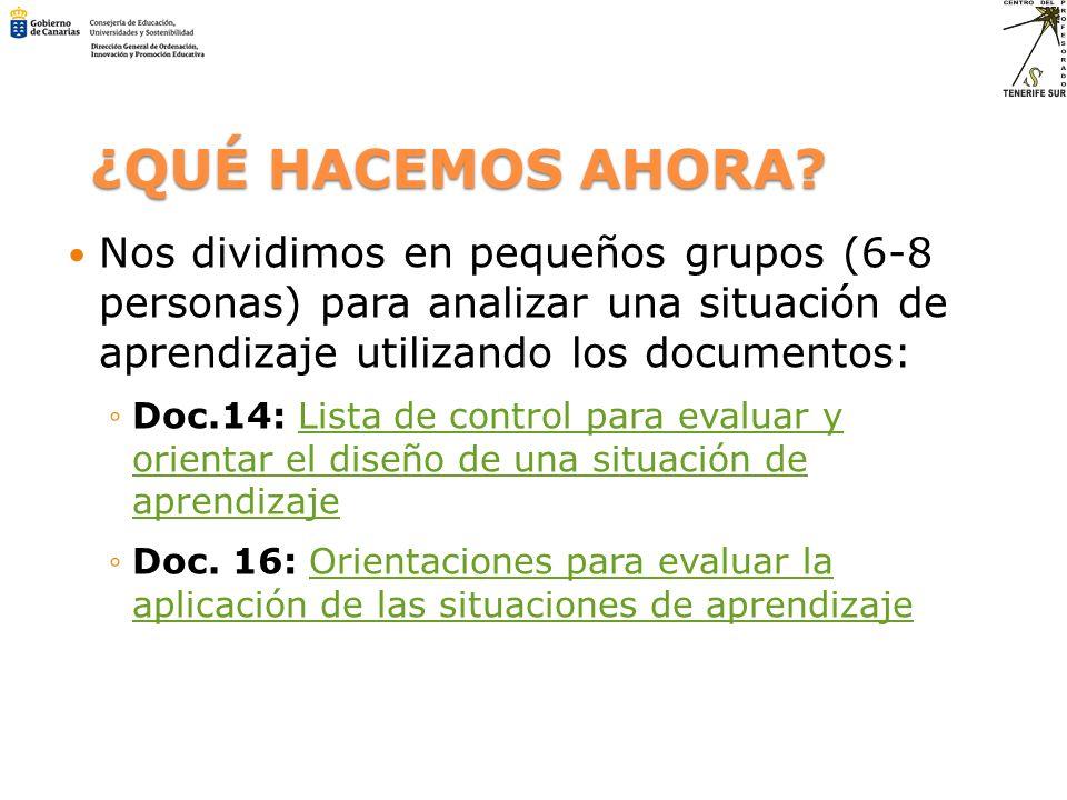 ¿QUÉ HACEMOS AHORA? Nos dividimos en pequeños grupos (6-8 personas) para analizar una situación de aprendizaje utilizando los documentos: Doc.14: List