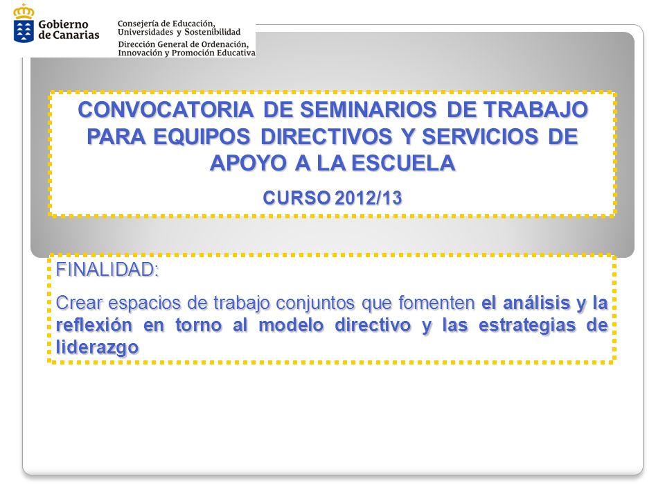 CONVOCATORIA DE SEMINARIOS DE TRABAJO PARA EQUIPOS DIRECTIVOS Y SERVICIOS DE APOYO A LA ESCUELA CONVOCATORIA DE SEMINARIOS DE TRABAJO PARA EQUIPOS DIR