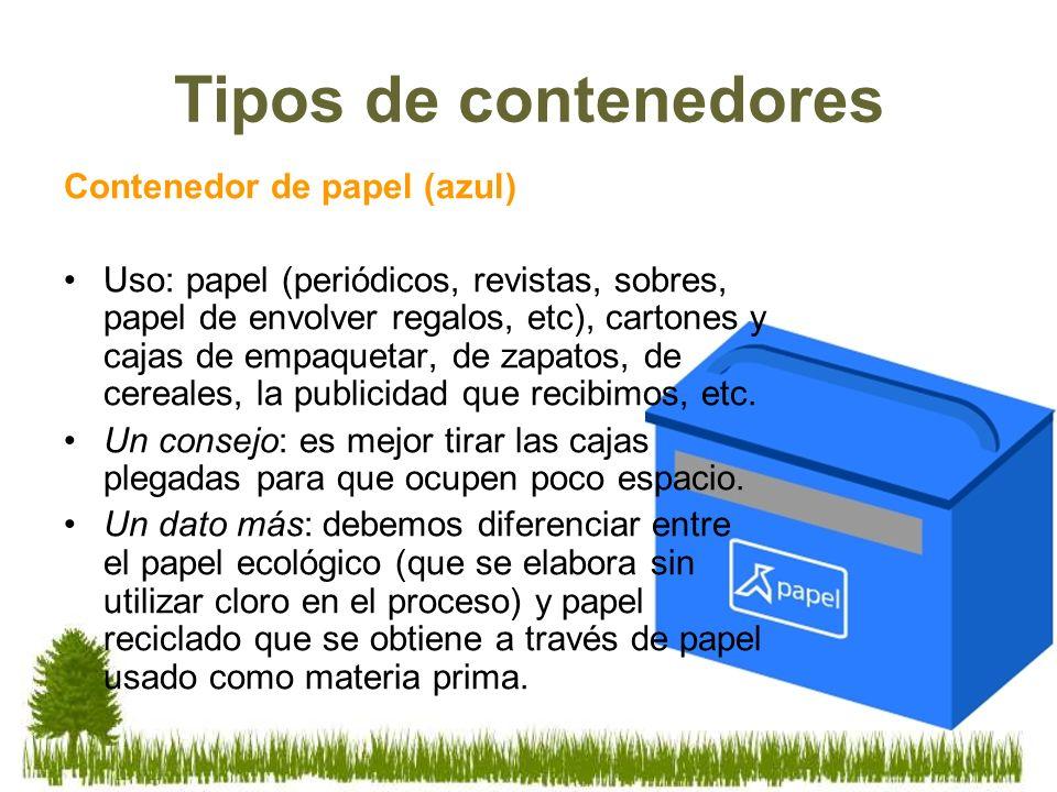 Contenedor de papel (azul) Uso: papel (periódicos, revistas, sobres, papel de envolver regalos, etc), cartones y cajas de empaquetar, de zapatos, de c