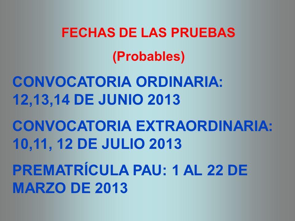 FECHAS DE LAS PRUEBAS (Probables) CONVOCATORIA ORDINARIA: 12,13,14 DE JUNIO 2013 CONVOCATORIA EXTRAORDINARIA: 10,11, 12 DE JULIO 2013 PREMATRÍCULA PAU