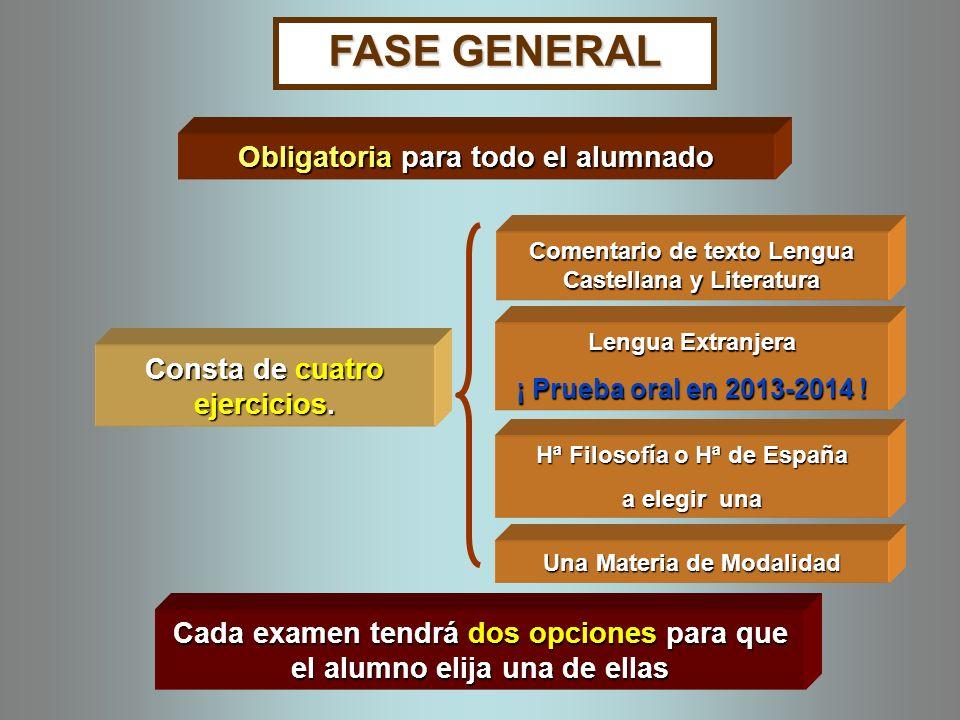 FASE GENERAL Consta de cuatro ejercicios. Obligatoria para todo el alumnado Comentario de texto Lengua Castellana y Literatura Lengua Extranjera ¡ Pru