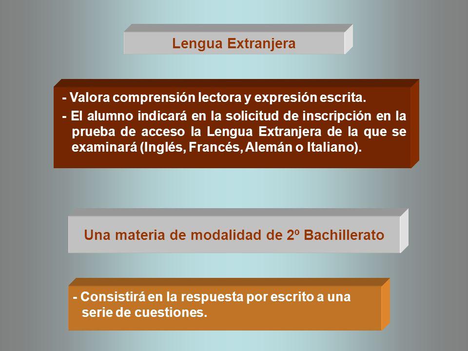 Una materia de modalidad de 2º Bachillerato Lengua Extranjera - Valora comprensión lectora y expresión escrita. - El alumno indicará en la solicitud d