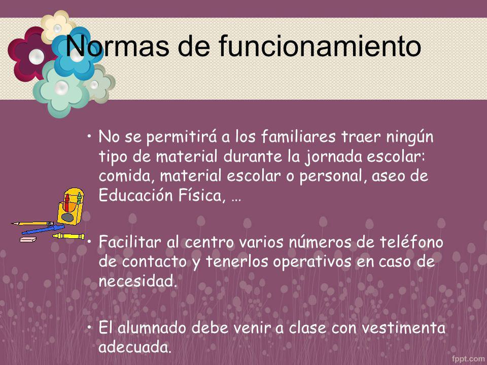 Normas de funcionamiento No se permitirá a los familiares traer ningún tipo de material durante la jornada escolar: comida, material escolar o persona