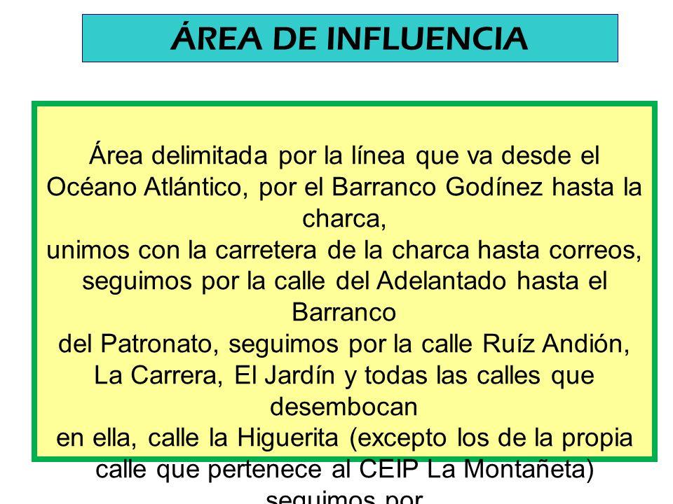 Área delimitada por la línea que va desde el Océano Atlántico, por el Barranco Godínez hasta la charca, unimos con la carretera de la charca hasta correos, seguimos por la calle del Adelantado hasta el Barranco del Patronato, seguimos por la calle Ruíz Andión, La Carrera, El Jardín y todas las calles que desembocan en ella, calle la Higuerita (excepto los de la propia calle que pertenece al CEIP La Montañeta) seguimos por la Autopista del Norte hasta el Barranco del Patronato y hasta el Océano.