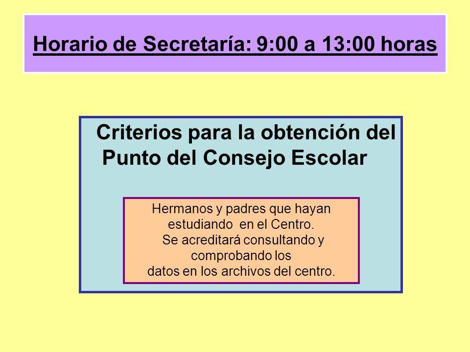 Horario de Secretaría: 9:00 a 13:00 horas Criterios para la obtención del Punto del Consejo Escolar Hermanos y padres que hayan estudiando en el Centro.