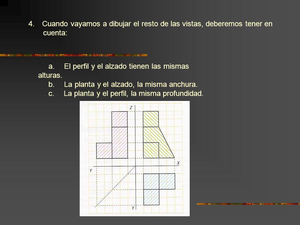 4. Cuando vayamos a dibujar el resto de las vistas, deberemos tener en cuenta: a. El perfil y el alzado tienen las mismas alturas. b. La planta y el a
