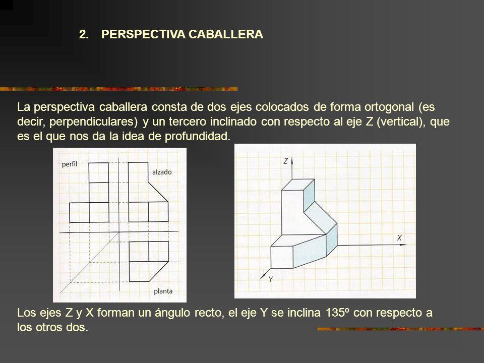 2. PERSPECTIVA CABALLERA La perspectiva caballera consta de dos ejes colocados de forma ortogonal (es decir, perpendiculares) y un tercero inclinado c