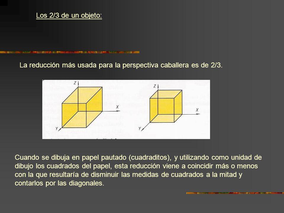 Los 2/3 de un objeto: La reducción más usada para la perspectiva caballera es de 2/3. Cuando se dibuja en papel pautado (cuadraditos), y utilizando co