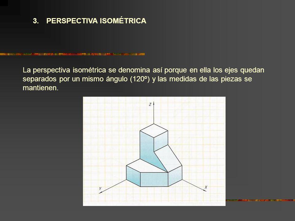 3. PERSPECTIVA ISOMÉTRICA La perspectiva isométrica se denomina así porque en ella los ejes quedan separados por un mismo ángulo (120º) y las medidas