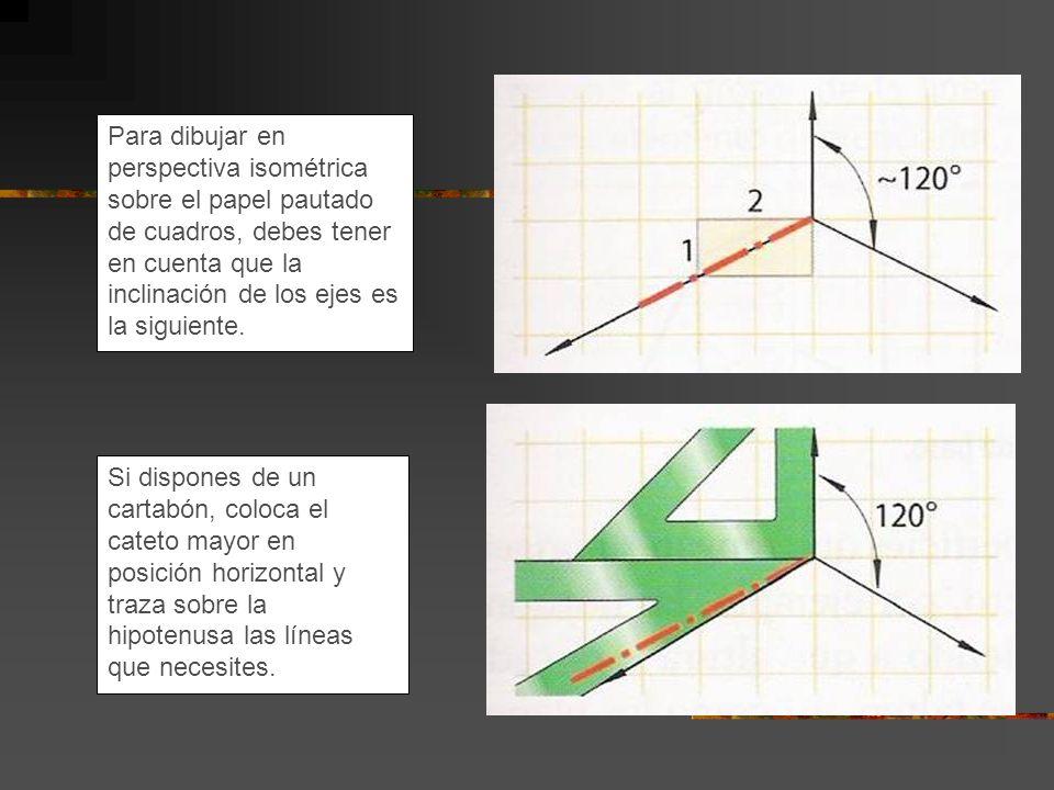 Para dibujar en perspectiva isométrica sobre el papel pautado de cuadros, debes tener en cuenta que la inclinación de los ejes es la siguiente. Si dis
