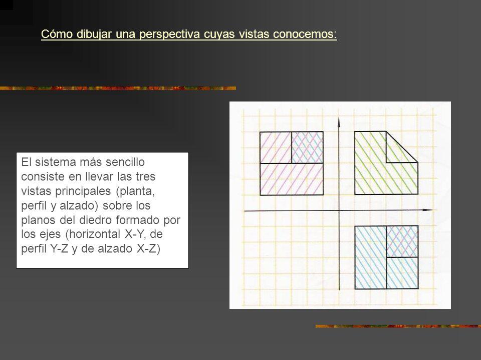 Cómo dibujar una perspectiva cuyas vistas conocemos: El sistema más sencillo consiste en llevar las tres vistas principales (planta, perfil y alzado)