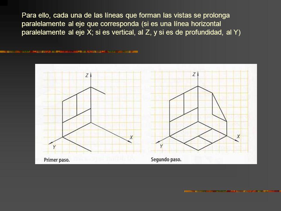 Para ello, cada una de las líneas que forman las vistas se prolonga paralelamente al eje que corresponda (si es una línea horizontal paralelamente al