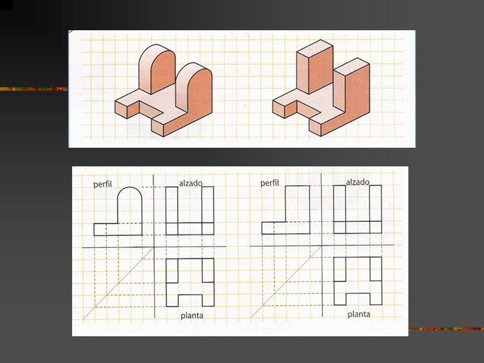 Cómo dibujar una perspectiva cuyas vistas conocemos: El sistema más sencillo consiste en llevar las tres vistas principales (planta, perfil y alzado) sobre los planos del diedro formado por los ejes (horizontal X-Y, de perfil Y-Z y de alzado X-Z)
