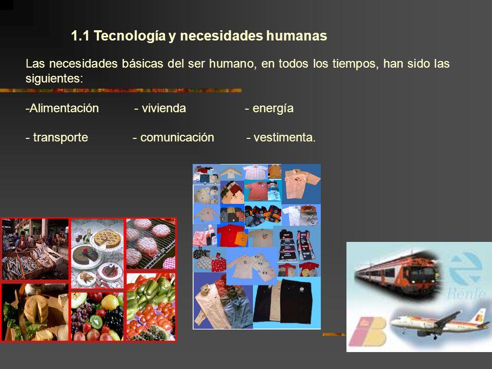 1.1 Tecnología y necesidades humanas Las necesidades básicas del ser humano, en todos los tiempos, han sido las siguientes: -Alimentación - vivienda -