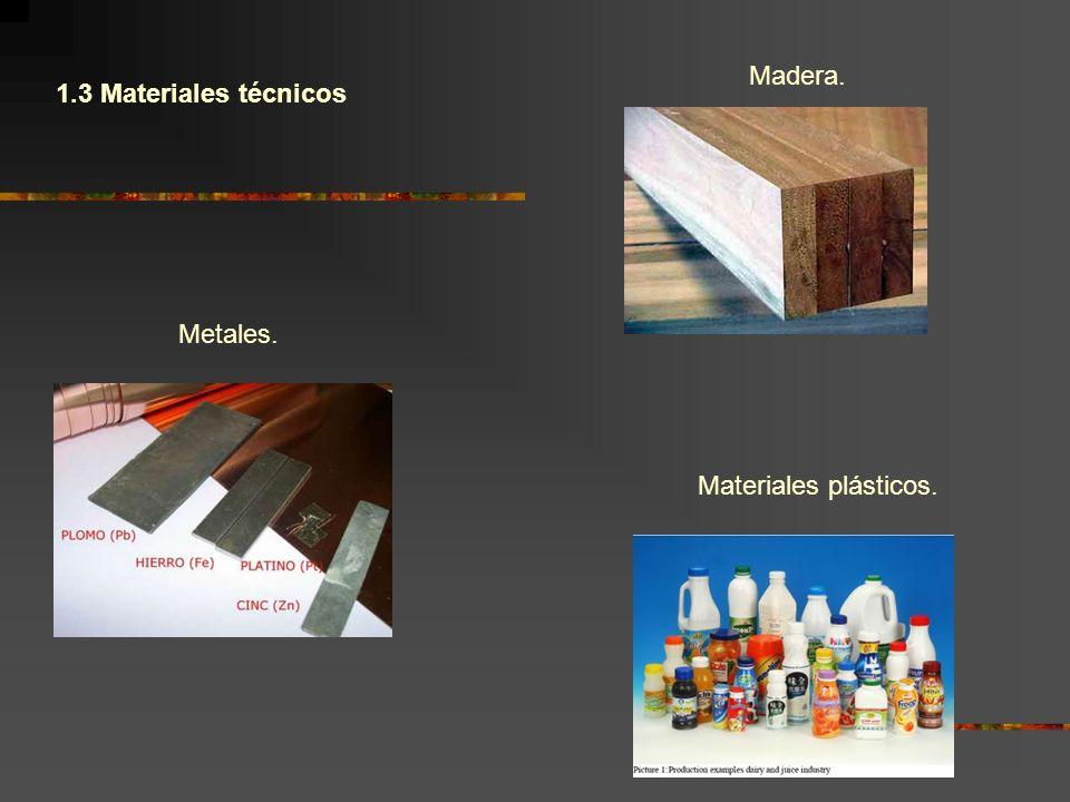 1.3 Materiales técnicos Madera. Metales. Materiales plásticos.