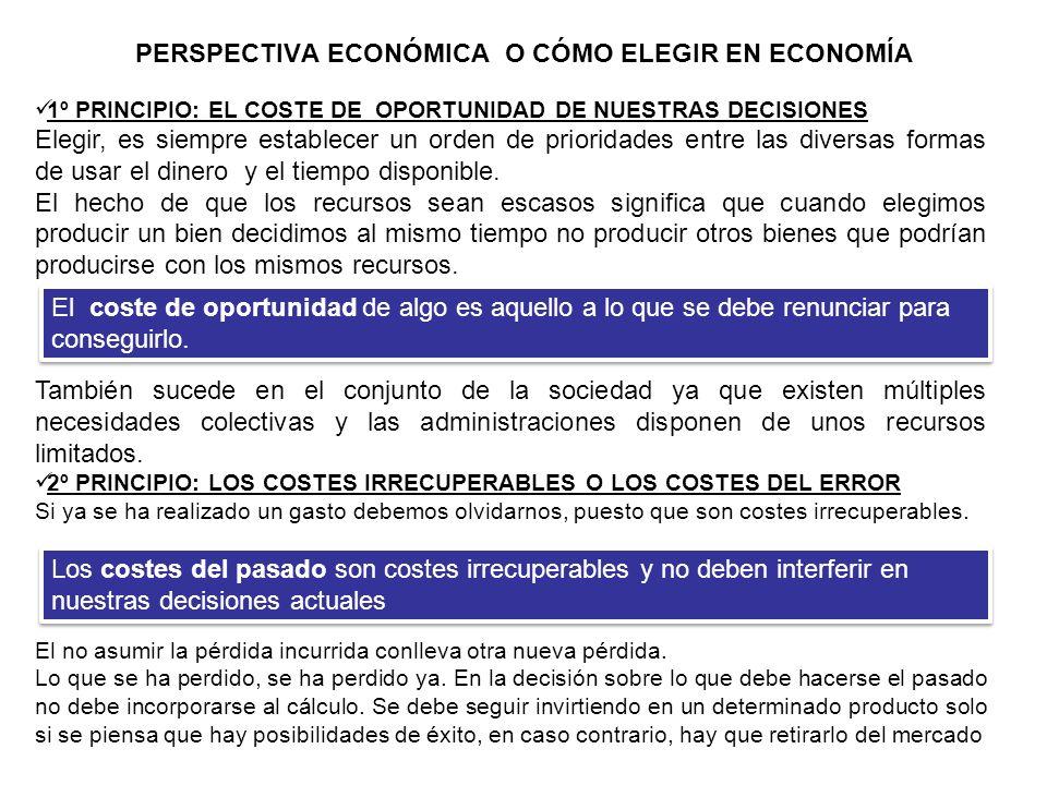 PERSPECTIVA ECONÓMICA O CÓMO ELEGIR EN ECONOMÍA (2) 3º PRINCIPIO: EL ANÁLISIS MARGINAL.