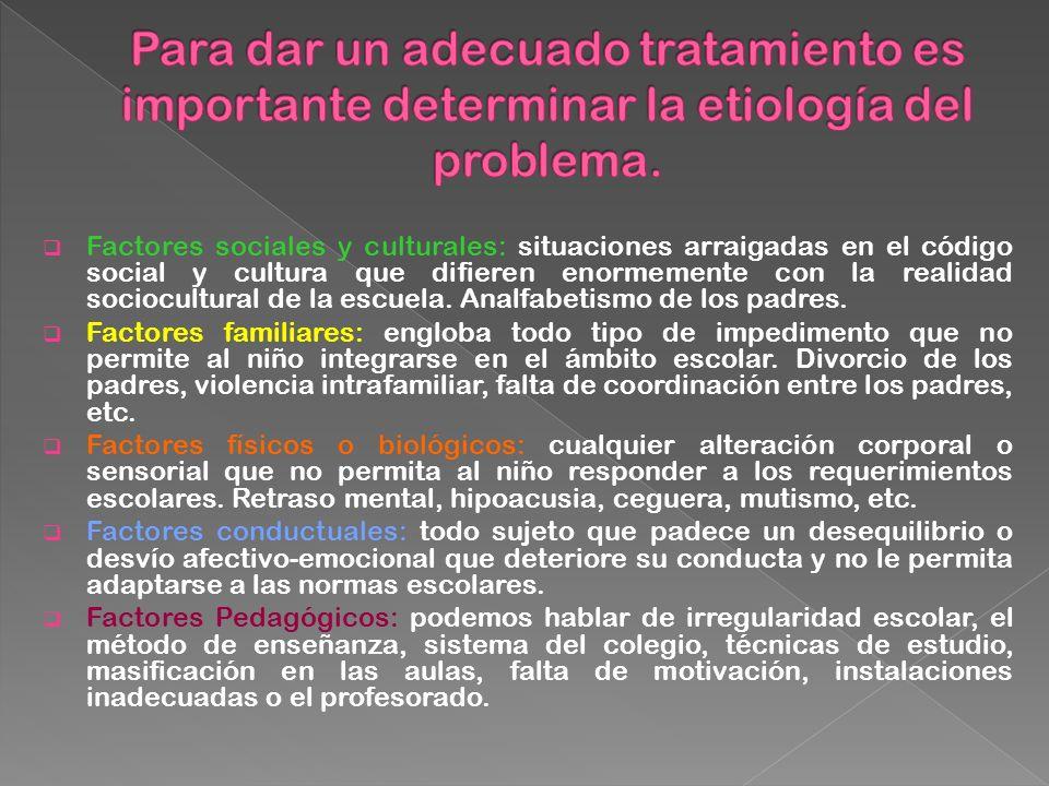 Factores sociales y culturales: situaciones arraigadas en el código social y cultura que difieren enormemente con la realidad sociocultural de la escu
