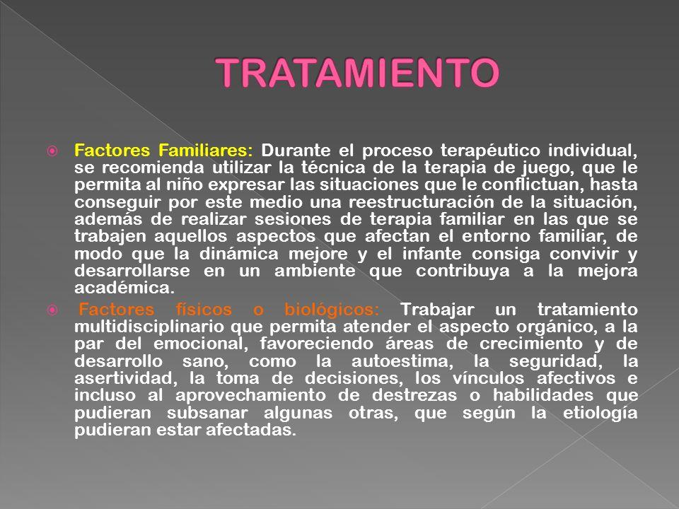 Factores Familiares: Durante el proceso terapéutico individual, se recomienda utilizar la técnica de la terapia de juego, que le permita al niño expre