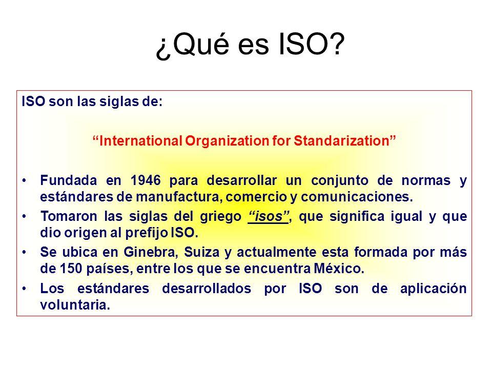 ¿Qué es ISO? ISO son las siglas de: International Organization for Standarization Fundada en 1946 para desarrollar un conjunto de normas y estándares