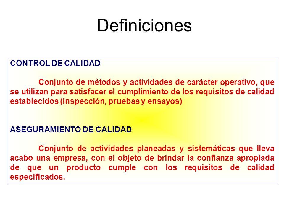 Definiciones CONTROL DE CALIDAD Conjunto de métodos y actividades de carácter operativo, que se utilizan para satisfacer el cumplimiento de los requis