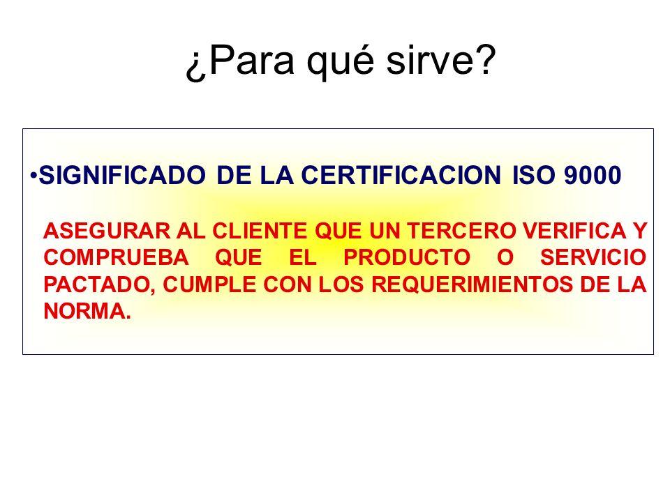 ¿Para qué sirve? SIGNIFICADO DE LA CERTIFICACION ISO 9000 ASEGURAR AL CLIENTE QUE UN TERCERO VERIFICA Y COMPRUEBA QUE EL PRODUCTO O SERVICIO PACTADO,