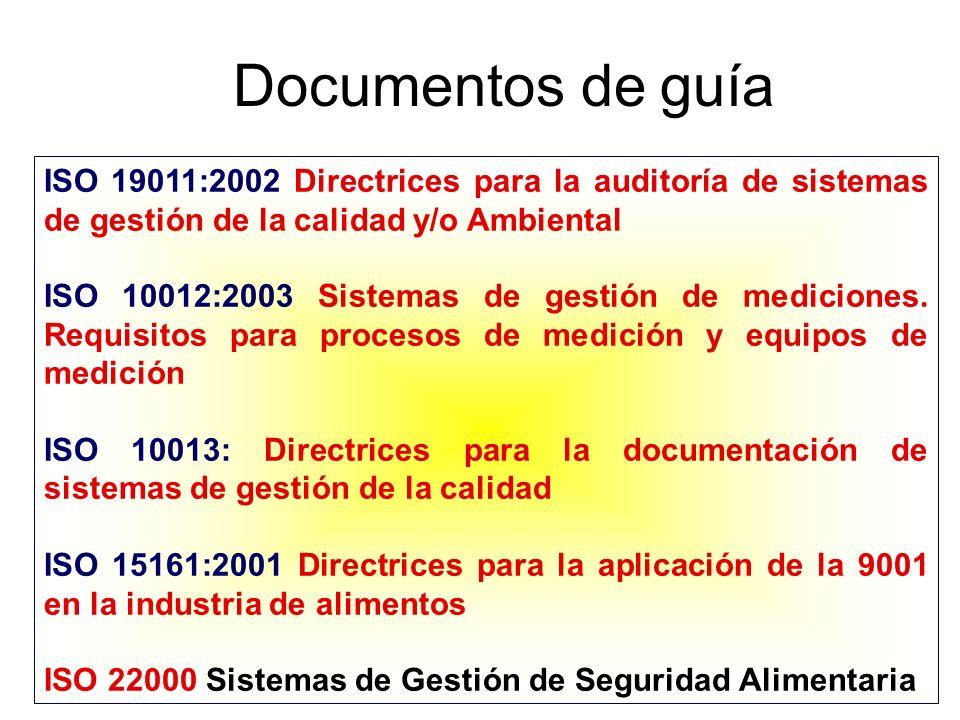 Documentos de guía ISO 19011:2002 Directrices para la auditoría de sistemas de gestión de la calidad y/o Ambiental ISO 10012:2003 Sistemas de gestión