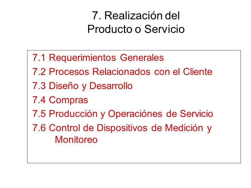 7. Realización del Producto o Servicio 7.1 Requerimientos Generales 7.2 Procesos Relacionados con el Cliente 7.3 Diseño y Desarrollo 7.4 Compras 7.5 P