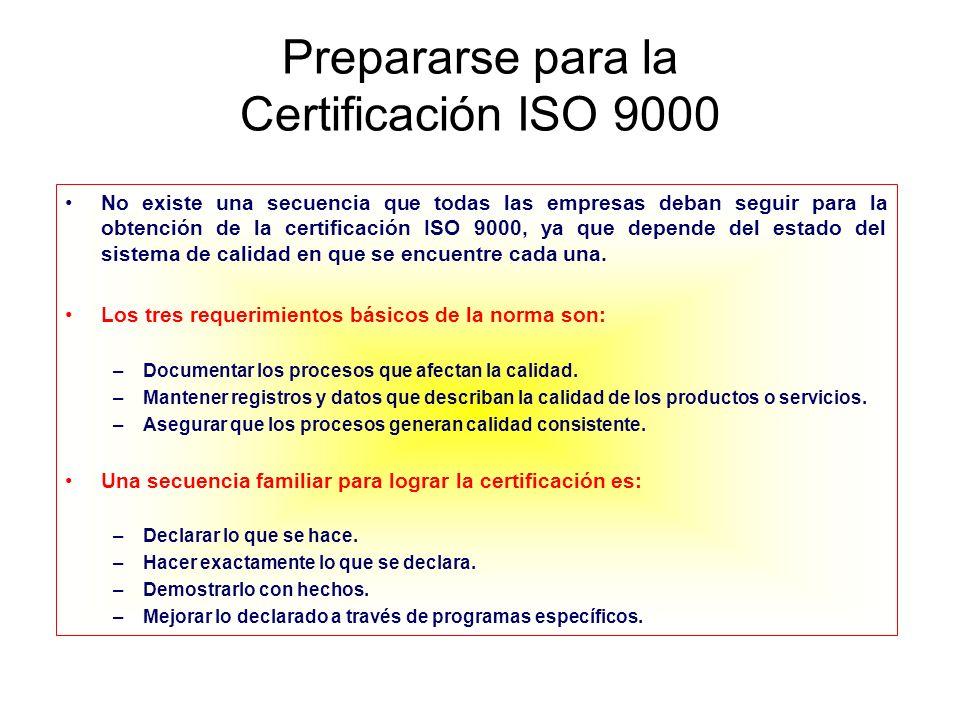 Prepararse para la Certificación ISO 9000 No existe una secuencia que todas las empresas deban seguir para la obtención de la certificación ISO 9000,