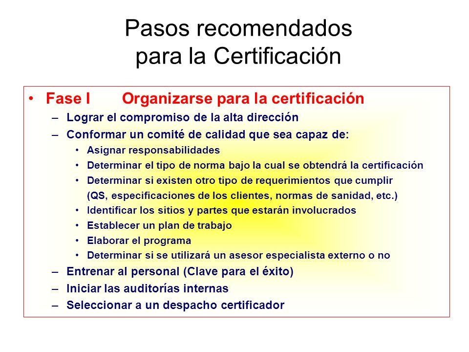 Pasos recomendados para la Certificación Fase IOrganizarse para la certificación –Lograr el compromiso de la alta dirección –Conformar un comité de ca