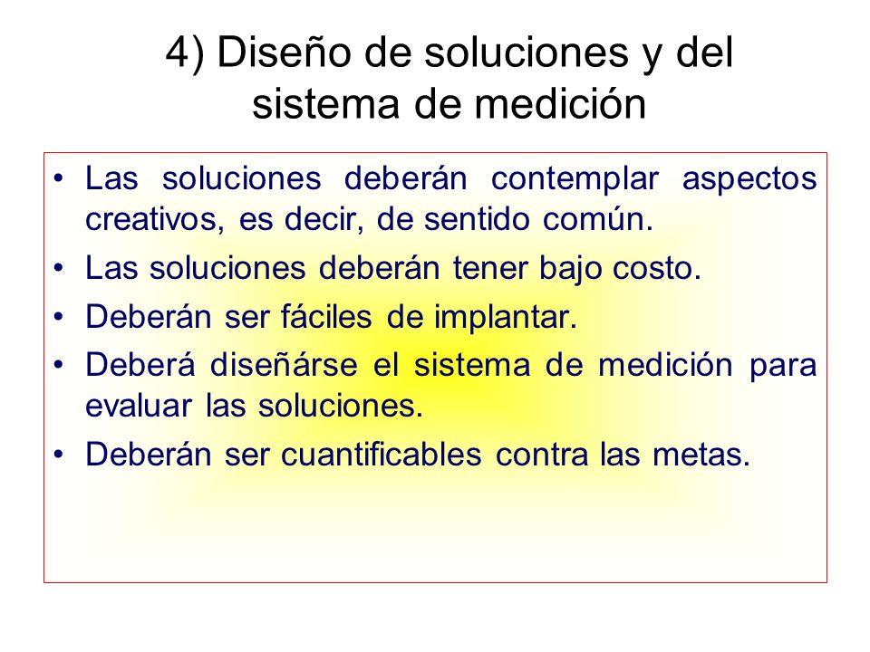 4) Diseño de soluciones y del sistema de medición Las soluciones deberán contemplar aspectos creativos, es decir, de sentido común. Las soluciones deb