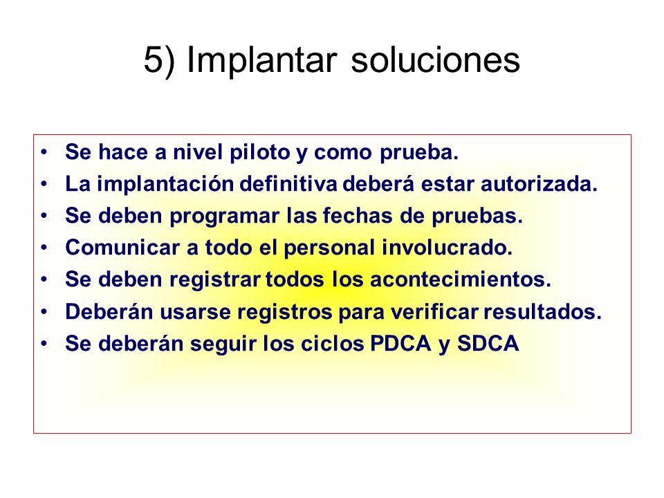 5) Implantar soluciones Se hace a nivel piloto y como prueba. La implantación definitiva deberá estar autorizada. Se deben programar las fechas de pru