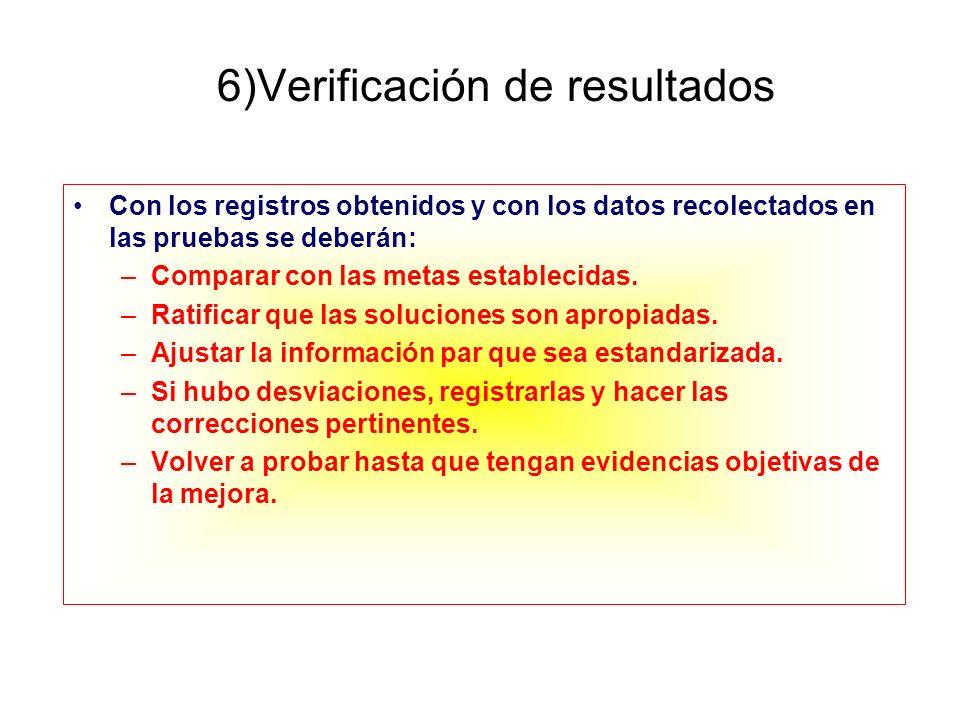 6)Verificación de resultados Con los registros obtenidos y con los datos recolectados en las pruebas se deberán: –Comparar con las metas establecidas.